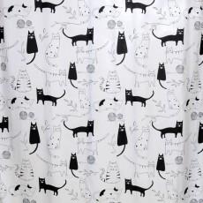 Штора 180х180 для ванной Little Black Cat (бел/черн) ch-12256