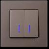 Выключатель 2-клавишный с индикацией без рамки антрацит 01403500-150104