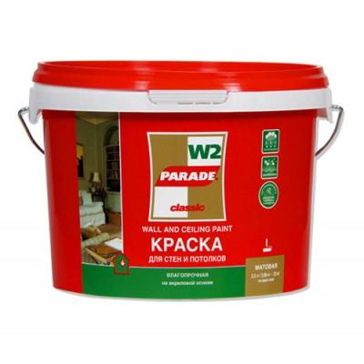 "Краска д/стен и потолка влагопрочная W2 белая ""PARADE"" 10л"