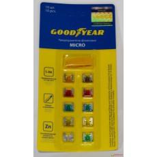 """Предохранители флажковые """"Goodyear"""" Micro (набор 10шт + экстрактор)"""