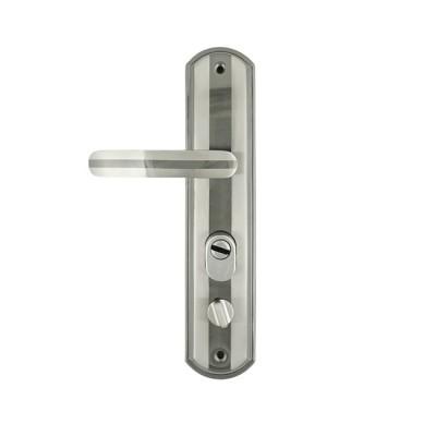Ручка дверная на планке NORA-M 301-68мм левая матовый хром-черный никель