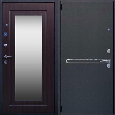 Дверь металлическая ЛИНИЯ венге, зеркало 860х2050 левая
