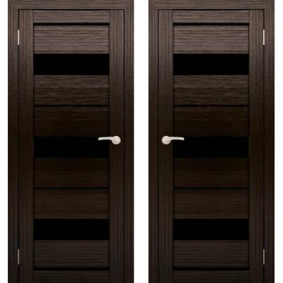 Дверное полотно АМАТИ-12 венге экошпон ПО-900 черное стекло