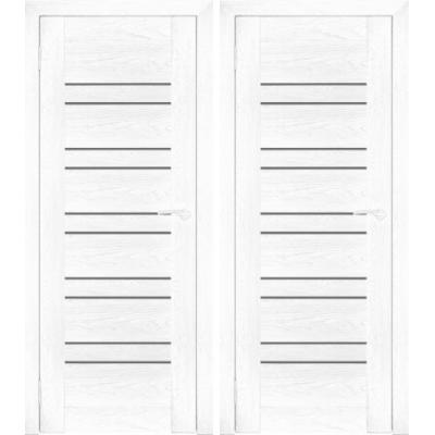 Дверное полотно АМАТИ-25 бьянко экошпон ПО-600 белое стекло