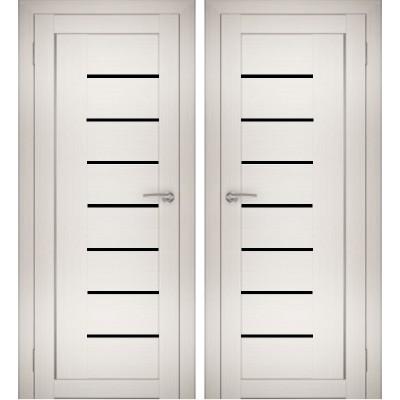 Дверное полотно АМАТИ-07 эшвайт экошпон ПО-700 черное стекло
