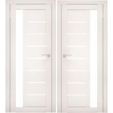 Дверное полотно АМАТИ-04 эшвайт экошпон ПО-900 белое стекло