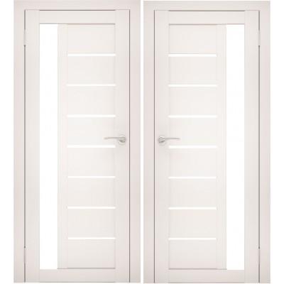 Дверное полотно АМАТИ-04 эшвайт экошпон ПО-800 белое стекло