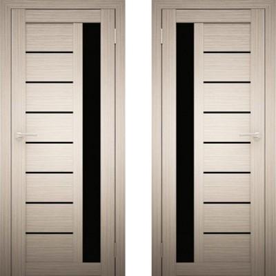 Дверное полотно АМАТИ-04 дуб беленый экошпон ПО-700 черное стекло