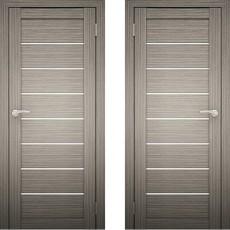 Дверное полотно АМАТИ-01 Дуб дымчатый экошпон ПО-700 (белое стекло)