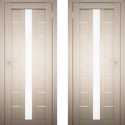 Дверное полотно АМАТИ-17 дуб беленый экошпон ПО-900 белое стекло