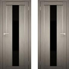 Дверное полотно АМАТИ-05 дуб дымчатый экошон ПО-700 черное стекло