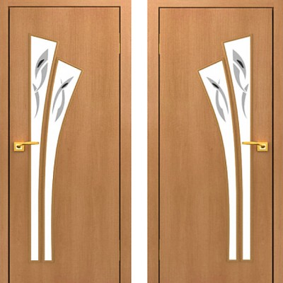 Дверное полотно остеклённое с фьюзингом С-07 Миланский орех ПОФ-700