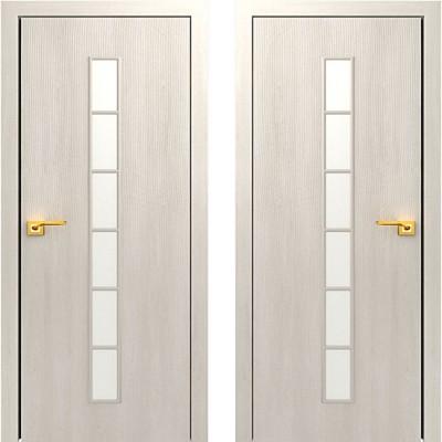 Дверное полотно остекленное С-12 Дуб беленый ПО-900