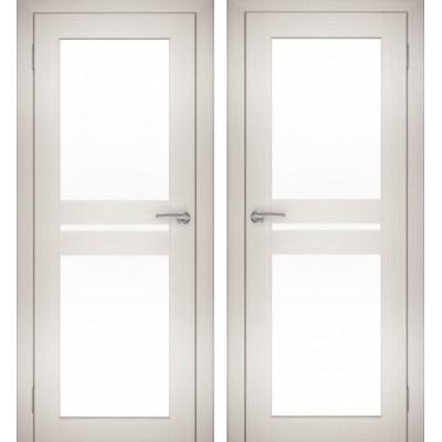 Дверное полотно АМАТИ-19 эшвайт экошпон ПО-800 белое стекло