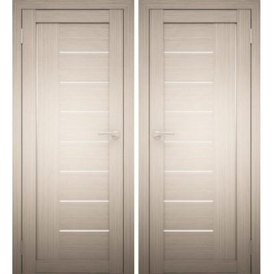Дверное полотно АМАТИ-07 дуб беленый экошпон ПО-600 белое стекло