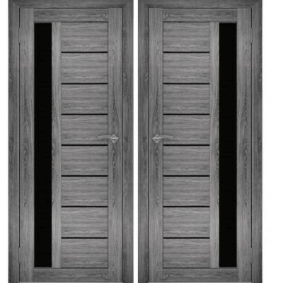 Дверное полотно АМАТИ-04 дуб шале-графит экошпон ПО-600 черное стекло