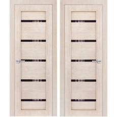 Дверь 3D покрытие ЭКОЛайт 1 Капучино ДО-900 черное стекло