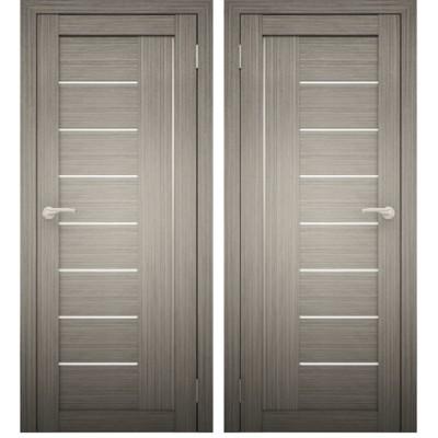 Дверное полотно АМАТИ-07 дуб дымчатый экошпон ПО-900 белое стекло