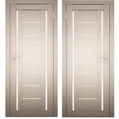 Дверное полотно АМАТИ-06 дуб беленый экошпон ПО-800 белое стекло