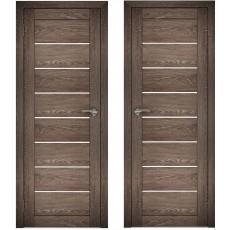 Дверное полотно АМАТИ-01 дуб шале-корица экошпон ПО-900 белое стекло