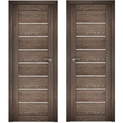 Дверное полотно АМАТИ-01 дуб шале-корица экошпон ПО-800 белое стекло