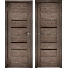 Дверное полотно АМАТИ-01 дуб шале-корица экошпон ПО-900 черное стекло