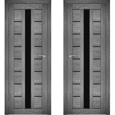 Дверное полотно АМАТИ-17 дуб шале-графит экошпон ПО-800 черное стекло