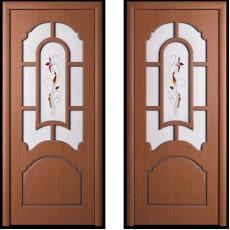 Дверь шпонированная Татьяна орех ПО-600 художественное стекло