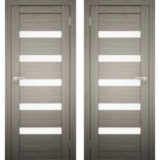 Дверное полотно АМАТИ-03 дуб дымчатый экошпон ПО-900 белое стекло