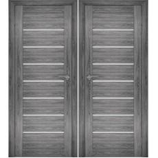 Дверное полотно АМАТИ-01 дуб шале-графит экошпон ПО-800 белое стекло