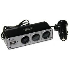 Разветвитель прикуривателя WF-0096 (3 гнезда с USB, цвет черный)