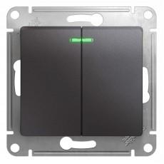 Выключатель двухклавишный Schneider Electric Glossa GSL001353 (с подсветкой, графит)