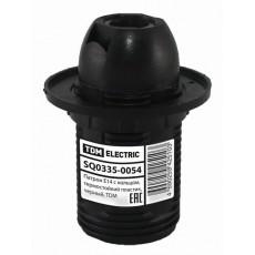 Патрон Е14 с кольцом, термостойкий пластик, черный, TDM SQ0335-0054