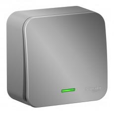 Выключатель одноклавишный с подсветкой Schneider Electric ОП BLANCA 10А 250В BLNVA101113 (алюминий)