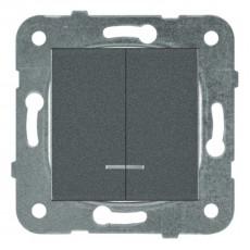 Выключатель 2-кл с подсветкой темно-серый (узел) WKTT00102DG-BY Panasonic