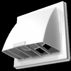 Выход стенной вытяжной с обратным клапаном 212х212 с фланцем D125 белый, 2121К12,5ФВ