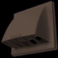 Выход стенной вытяжной с обратным клапаном 212х212 с фланцем D125 коричневый, 2121К12,5ФВ