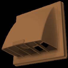 Выход стенной вытяжной с обратным клапаном 212х212 с фланцем D125 терракотовый, 2121К12,5ФВ