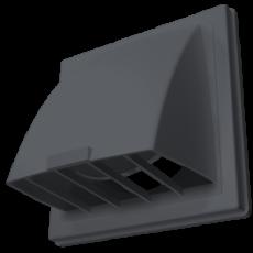 Выход стенной вытяжной с обратным клапаном 212х212 с фланцем D125 серый, 2121К12,5ФВ