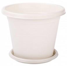 """Горшок цветочный """"Эконом"""" с поддоном 2 литра Белый"""