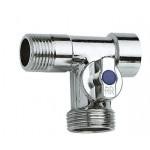 Трехпроходной кран для стиральной машины 1/2х3/4х1/2 шаровый Хром