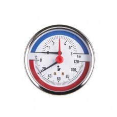 """Термо-манометр радиальный до 6 бар корпус: металл.от 0℃ до 120℃, присоединение: 1/4"""" наружная"""