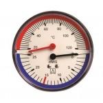 """Термо-манометр аксиальный до 10 бар.корпус: металл.от 0℃ до 120℃, присоединение: 1/4"""" наружная"""