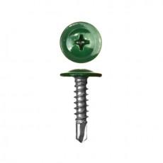 Саморез 4,2х19 (RAL6005) зеленый мох, полусфера-прессшайба, сверло (30шт)