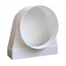 Соединитель угловой 90° пластик 612СК10ФП, плоский воздухотвод с фланцевым воздухораспределителем, 60х120/D100