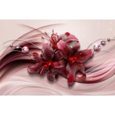 Декоративное панно Красные лилии 392х260 (16л) VIP