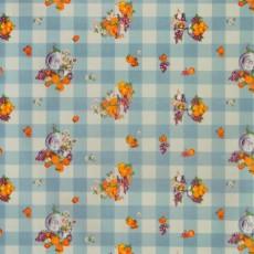Пленка самоклеящаяся HONGDA 5422 Светло-синие квадратики с фруктами 0,45х8м