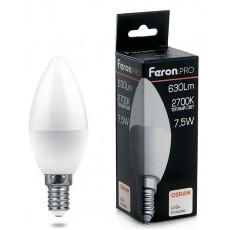 Лампа светодиодная 7.5W 230V E14 2700K C37, LB-1307 38054