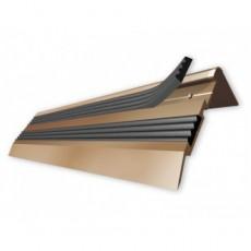 Порог-угол Д02 68х30,8мм алюминиевый анодированный с 2 резиновыми вставками бронза (РЕ) длина 1,35м
