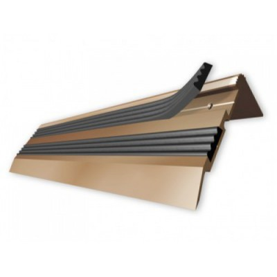Порог-угол Д02 68х30,8мм алюминиевый анодированный с 2 резиновыми вставками бронза (РЕ) длина 0,9м